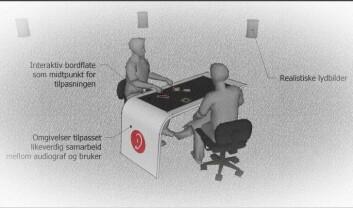 Slik kan audiograf og høreapparatbruker samarbeide over bordet. (Foto: Sintef IKT)