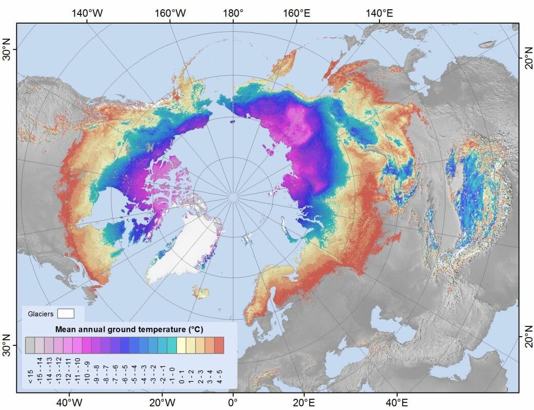 Fordelingen av permafrost og grunntemperaturer på den nordlige halvkule.