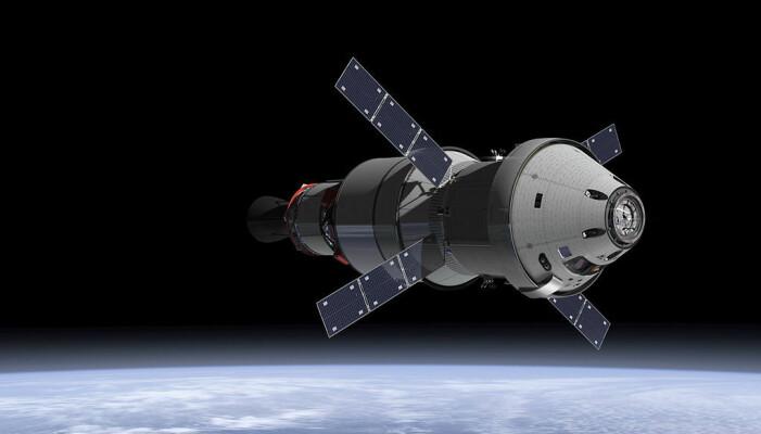Illustrasjonsbilde av Orion-romskipet, som etter planen skal ta astronauter til den nye stasjonen i bane rundt månen. Romkapselen er foreløpig under testing