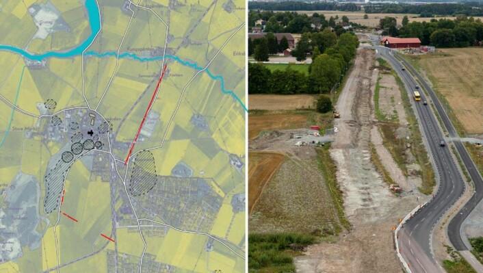 De røde strekene på kartet til venstre markerer hvor stolperadene en gang har vært. Bildet til høyre viser den en kilometer lange stripen med groper hvor det en gang har stått høye stolper. (Foto: Riksantikvarieämbetet/www.flygfoto.com)