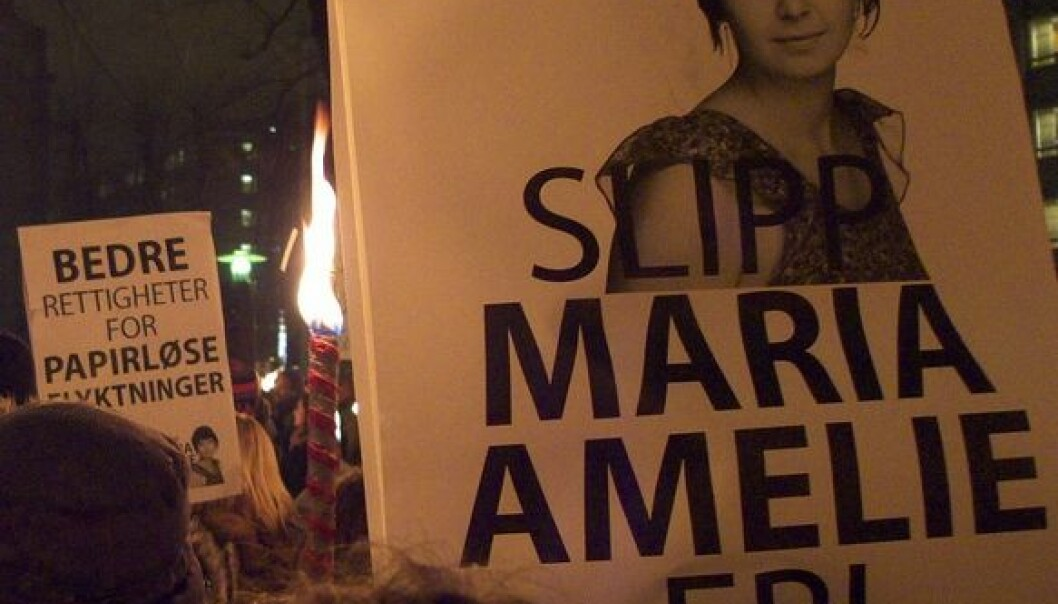 Fra demonstrasjon i forbindelse med saken til Maria Amelie. (Foto: Rødt Nytt/Flickr Creative Commons)