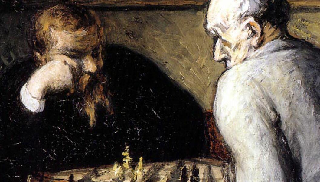 Honoré Daumier: Sjakkspillerne, oljemaleri, 1863. (Bilde: Wikimedia Commons)