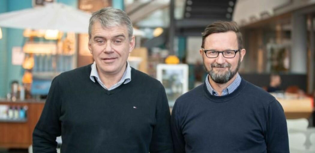 Professor John-Bjarne Hansen frå UiT (t.v.), og Morten Elde frå Norinnova arbeidar i lag om å kommersialisere forskinga på venøs blodpropp.