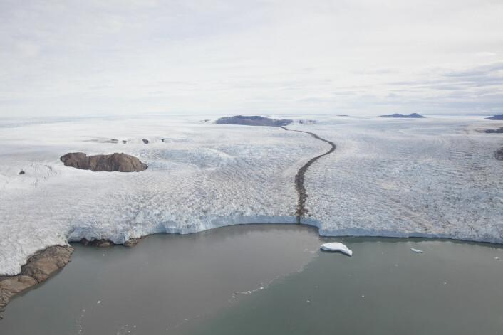 Flyfotos fra 1980- og 1990-tallet viser at Grønland har mistet store mengder is tidligere, men at ismassetapet opphørte deretter. Det setter store spørsmålstegn med hvor presise dagens klimamodeller er, mener danske forskere. (Foto: Niels Korsgaard, Naturhistorisk Museum)