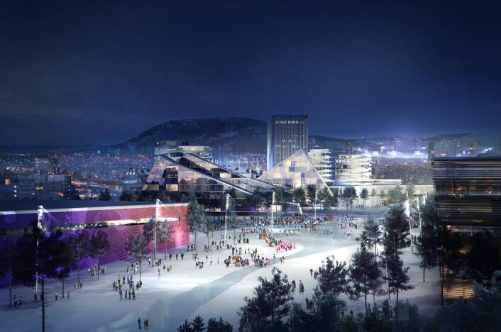 OL-landsby på Økern kan det bli i 2022 – men om det blir ekstra hotelldøgn i Oslo, det strides forskerne om. (Foto: (Illustrasjon: Oslo2022/Snøhetta/Cowi/MIR))