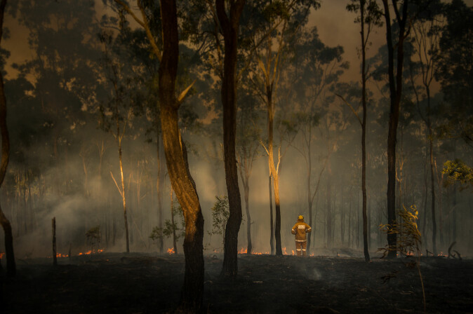 Brannmann ser oppgitt på resultatet av flammene i Queensland, Australia.