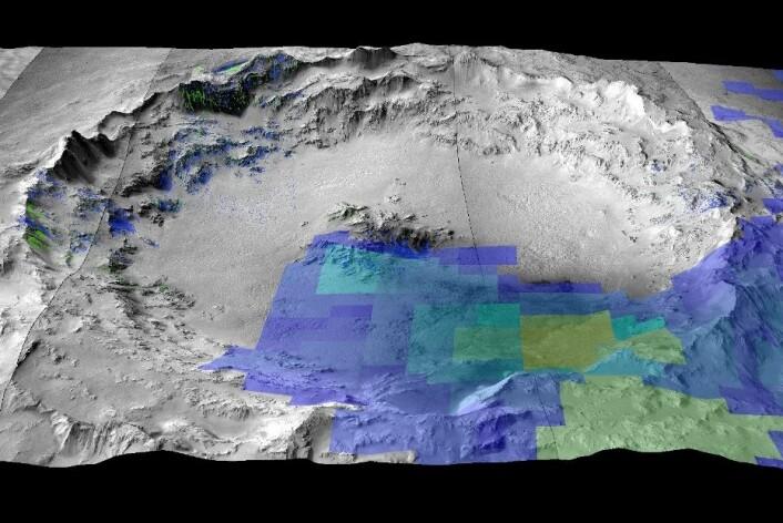 3D-bilde av Mojave-krateret på Mars hvor shergottitt-meteorittene stammer fra. (Foto: UiO)