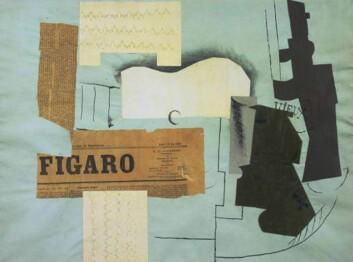 Kollasjen oppsto i begynnelsen av 1910-tallet. En av de første kunstnerne som kastet seg over den nye teknikken, var Pablo Picasso. Men andre kunstnere tok snart opp tråden. Blant andre de såkalte «dadaistene» – kunstnere som dyrket det absurde og meningsløse. Omkring 1920 ble noen dadaister inspirert av Sigmund Freuds psykoanalyse. Det ble starten på surrealismen. Kunstnerne tok kollasjteknikken med seg over i surrealismen, hvor de ville bruke den konstruktivt til å skape kontakt med «det ubevisste». De merkelige sammenstøtene mellom elementer ligner ofte det man opplever i drømme. (Foto: (Kollasj: Pablo Picasso: Gitar, avis, glass og flaske (1913)))