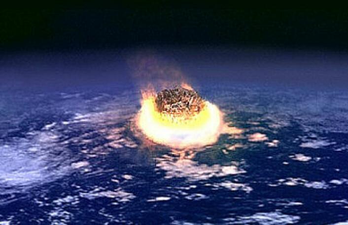 Kritt-katastrofen kalles også Kritt-Tertiær-katastrofen (KT-event). Trolig skyldtes den at en komet eller en asteroide (liten klode) kolliderte med jorda ved det som nå er Yucatan-halvøya i Mexico. (Foto: (Motasje fra NASA-foto, Wikimedia Commons))