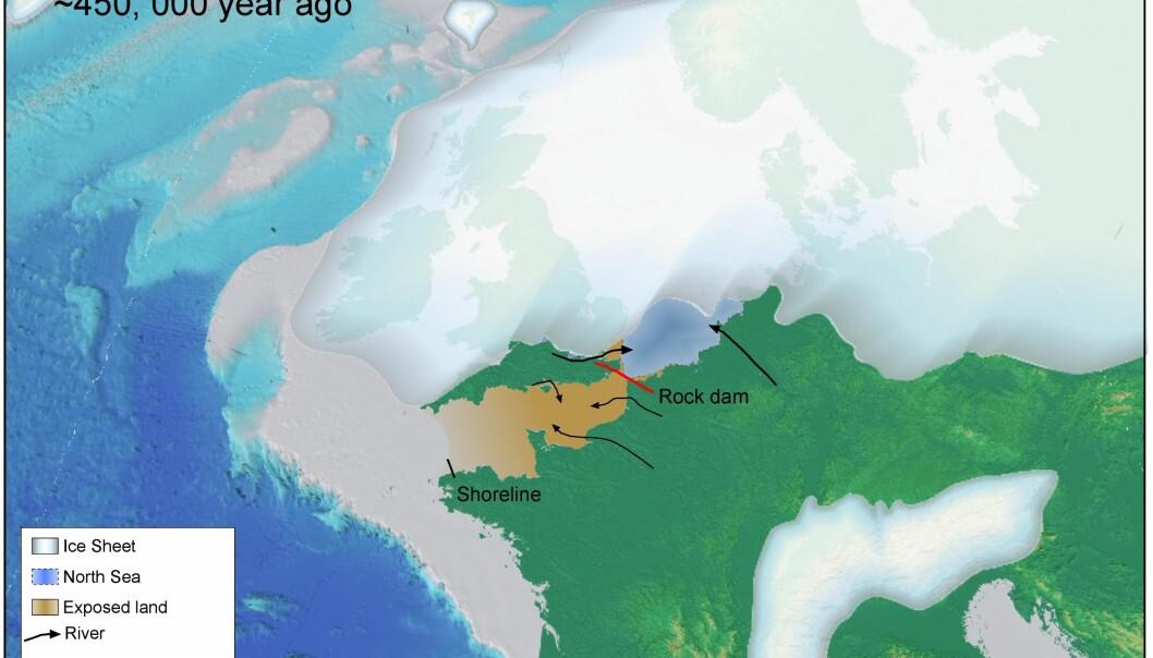 """""""Bildet viser deler av området som ble Den engelske kanal for omtrent 450 000 år siden. Islagte områder bredte seg ut og demmet opp for vannmasser. Bilde: S. Gupta og A. Whitchurch."""""""