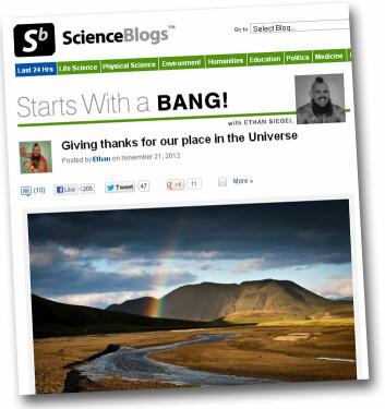 Bloggen Starts With a BANG av astronomen Ethan Siegel. (Foto: (Skjermdump))