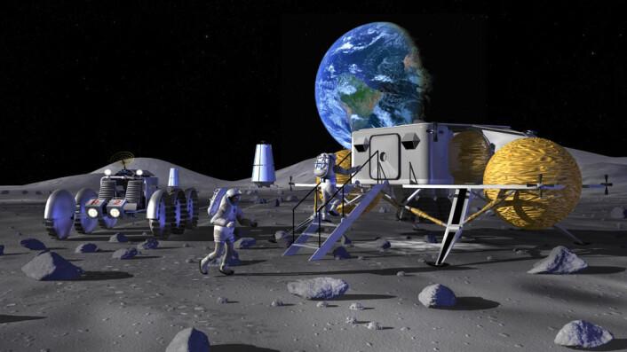 Framtidas månebaser kan bli lagt nær en av månens poler, der det er frosset vann i dype kratre hvor sola aldri skinner. Ved månens poler står jordkloden lavt over horisonten. (Foto: (Illustrasjon: NASA/www.colourbox.no))