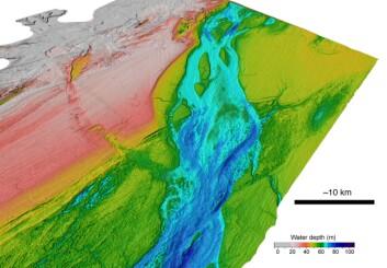 """""""Tredimensjonal oversikt over Den engelske kanalen. Rosa viser de grunneste områdene, mens de dypeste er markert med blått. Bilde: S. Gupta."""""""