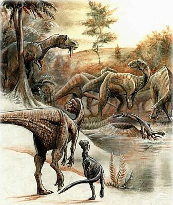 En flokk dinosaurer ved redene sine.