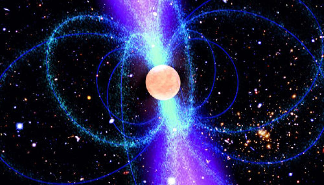 Pulsaren J1311-3430 er som andre pulsarer en nøytronstjerne, de supertette restene etter en supernova, som spinner og sender ut radiobølger. (Illustrasjon: NASA (pulsar), NASA/ESA, M. Jee og H. Ford (Johns Hopkins University) (Hubble Field), AEI/Milde Marketing Science Communication)