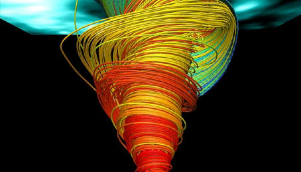 Visualisering av de avanserte simuleringene av virvlene på sola. (Illustrasjon: Wedemeyer-Böhm et al. (2012)/VAPOR)