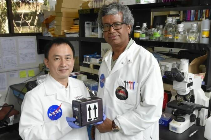Disse to amerikanske forskerne, Clay Wang (venstre) og Kasthuri Venkateswaran, har stått i spise for et forskningsprosjekt der blant annet sopper fra Tsjernobyl har blitt sendt ut til Den internasjonale romstasjonen.
