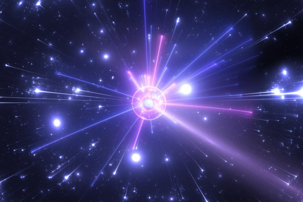 Antimaterie «annihilerer» når det kommer i kontakt med materie. Da ødelegges begge deler og energien slippes løs som varme og lys.