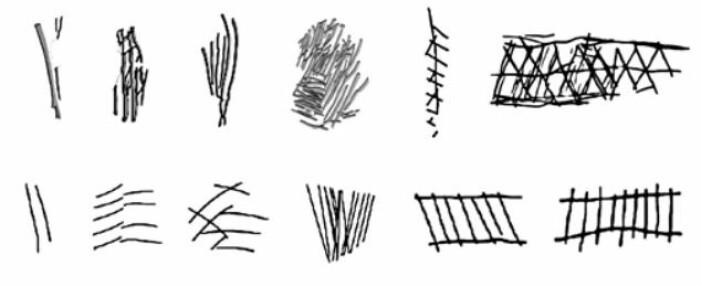 Her er mønstrene som ble risset inn på steiner. De som er til venstre er de eldste. De er 100.000 år gamle. De som er til høyre er 60.000 år gamle.