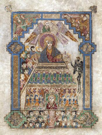 «Guds hus» med dyrehodeformede møner. Avbildningen speiler også de husformede relikvieskrinene. Folio MS58_202v fra Kells-boken, datert til 800-tallet.