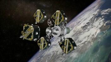 """""""Illustrasjonen viser Themis i det de fem satellittene ble sendt ut for å fortsette ferden alene.(Foto: NASA)."""""""