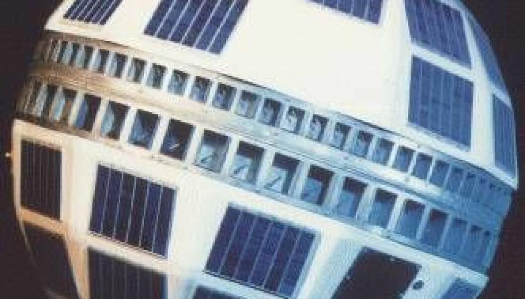 Telstar 1, den første satellitten som overførte tv-signaler over Atlanterhavet, ble skutt opp 10. juli 1962. Wikimedia