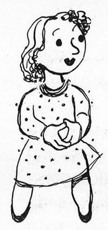 Karoline var kjæresten til Baktus. Hun bodde i den andre enden av munnen til Jens. (Foto: (Illustrasjon: Thorbjørn Egner))