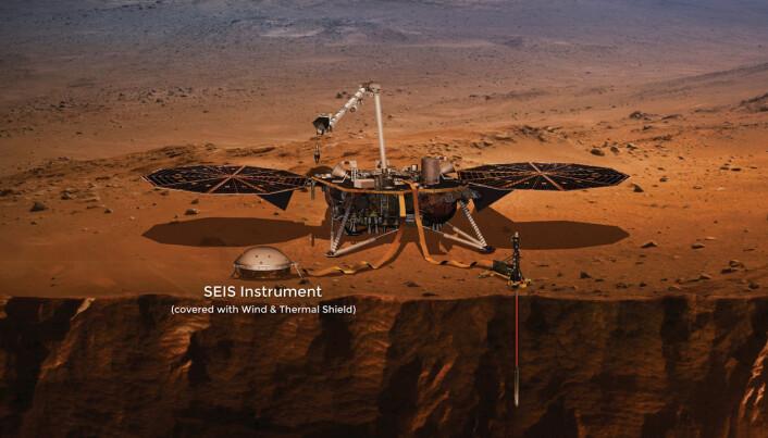 Her ser du InSight, med instrumentet SEIS, som måler jordskjelv.