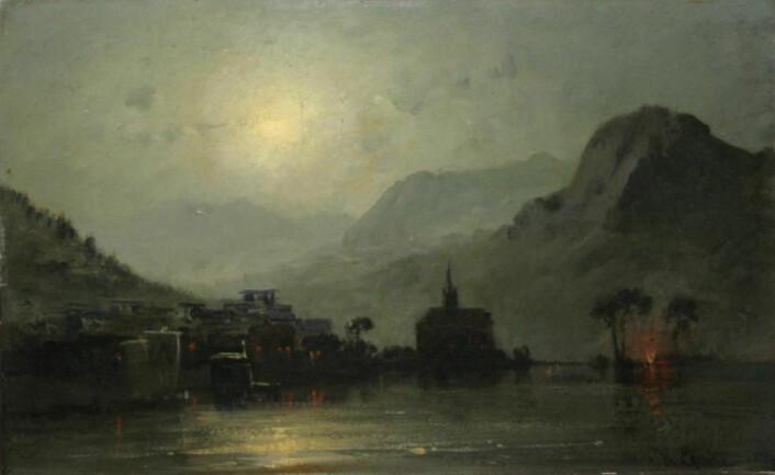 Blick auf den Genfersee im Mondschein, Hermann Eschke (1823-1900) (Foto: (Bilde: Wikimedia Commons))