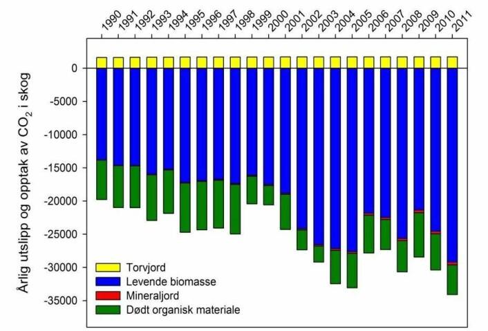 Kyoto-protokollen åpner for at 1,5 millioner tonn av CO2-opptaket i skog kan avregnes mot de norske utslippene. Figuren viser årlig utslipp og opptak av CO2 i norsk skog. (Foto: (Figur: Klimasenteret ved Skog og landskap))