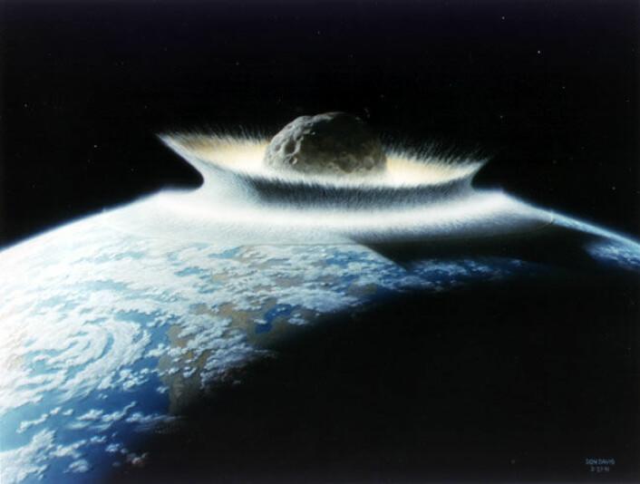 Før eller siden vil en stor asteroide treffe jorda, men det kan være veldig lenge til. (Illustrasjon: Don Davis, NASA)
