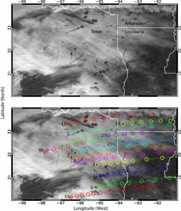 Satelittbilde over Texas, USA, som viser hull i skydekket forårsaket av fly. (Foto: Science/AAAS)
