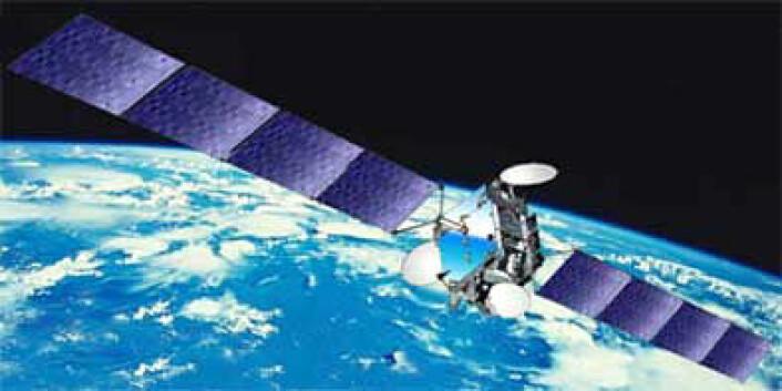 Telenors kommunikasjonssatellitt Thor 6 overfører store mengder tv og internett. (Foto: Thales Alenia Space)
