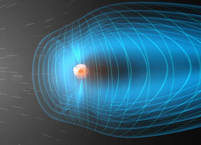 En konstant strøm av partikler og elektromagnetiske bølger strømmer fra sola mot jorda, som er omgitt av en beskyttende boble kalt magnetosfæren. En forsker ved NASA Goddard har nylig for første gang laget et sett formler som kan beskrive bølger i solvinden som kalles Alfvenbølger. (Foto: (Illustrasjon: European Space Agency (ESA)))