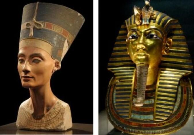 Nefertiti (t.v.) oppnådde politisk og kultisk likestilling med mannen sin, og etter at hans død overtok hun kanskje makten fram til 1333 f.v.t. under navnet Smenkhkare. Kong Tutankhamon kom til makten etter Nefertiti og mannen hennes.