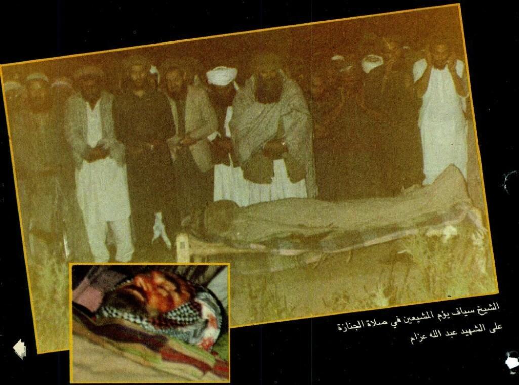 Den palestinske ideologen Abdallah Azzam ble drept av bilbombe i Peshawar, Pakistan i 1989.