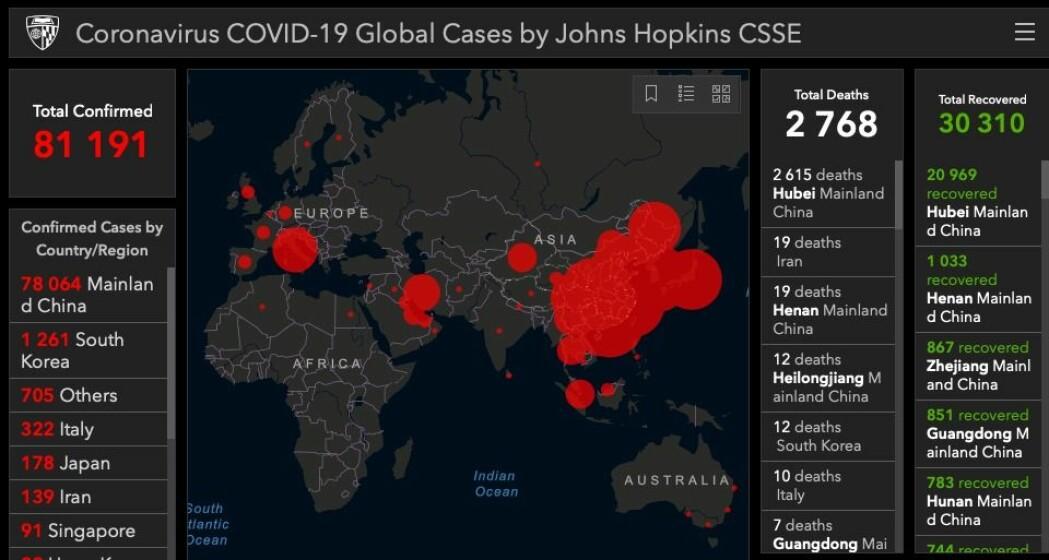 Viruset sprer seg oppsiktsvekkende raskt. Ettermiddagen 26. februar var over 80 000 personer bekreftet syke. 2768 var døde. 30 310 var blitt friske etter sykdommen.