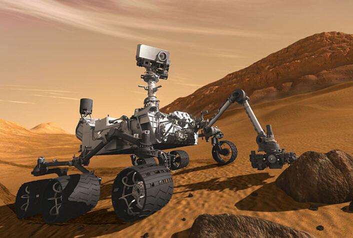 Curiosity skal blant annet lete etter geologiske spor av vannet som en gang fantes på Mars. (Foto: (Illustrasjon: NASA))