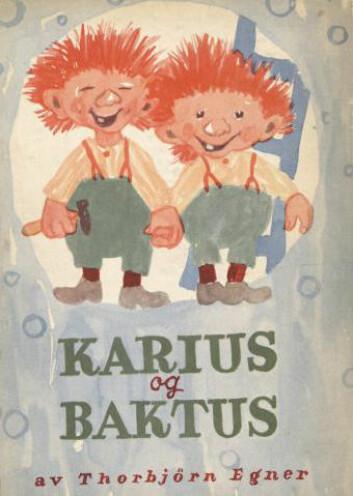 Først i andre utgave fra 1949 blir Karius og Baktus til de trollene vi kjenner. Men da hadde begge rødt hår. (Foto: (Illustrasjon: Thorbjørn Egner))