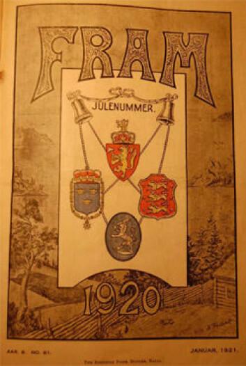 Fram-forsiden fra 1920 viser de norske, svenske, danske og finske riksvåpnene i skjønn forening. (Foto: Kilde: Norsk Utvandrermuseum.)
