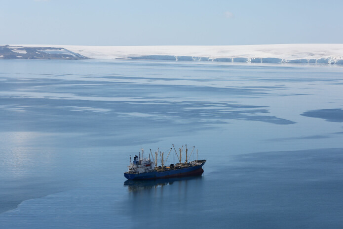 A krill fishing ship of unknown nationality in Half Moon Bay, Antarctica. Krill is a possible source of omega-3 fatty acids.