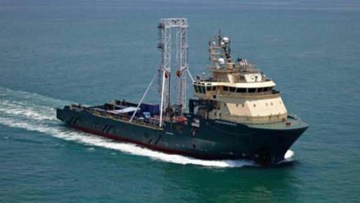 Gjennom to måneder har boreskipet «Greatship Manisha» vært på vitenskapelig tokt i Østersjøen. For første gang har forskere boret seg dypt ned i havbunnen her. Flere steder fant de rester av gammelt ferskvann, som blant annet kan stamme fra den gang da Østersjøen var en kjempestor ferskvannssjø. (Foto: Geoquip Marine © Island Drilling Singapore Pte Ltd.)
