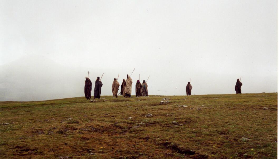 """""""Den etiopiske bonden er henvist til et karrig landskap. (Foto: Harald Aspen)"""""""