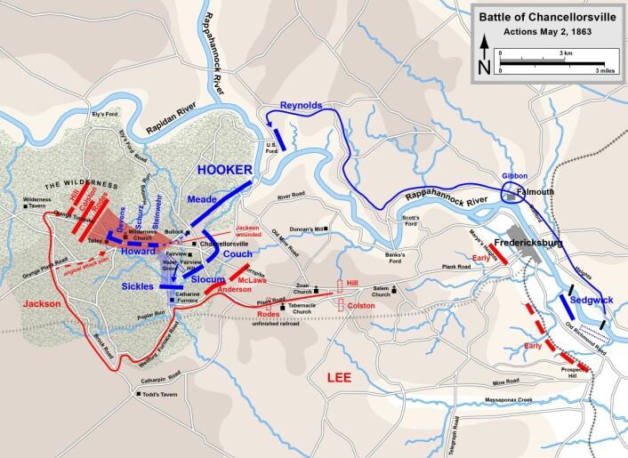 Kart over kampene den 2. mai 1863. Legg merke til Jacksons flankemarsj til høyre i bildet. (Foto: (Illustrasjon: Hal Jespersen / www.cwmaps.com))