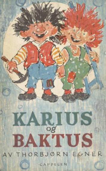 I boka fra 1958 er Karius mer ulik sin Baktusbror, som en følge av at han fikk svart hår og andre klær i dokkefilmen laget av Ivo Caprino. (Foto: (Illustrasjon: Thorbjørn Egner))