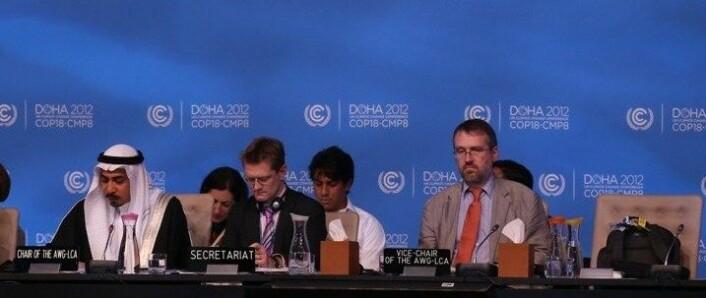 Kyoto 2-avtalen ble vedtatt i Doha i 2012. I avtalen har Norge, EU og enkelte andre land påtatt seg utslippsforpliktelser fram til 2020. (Foto: AFP)
