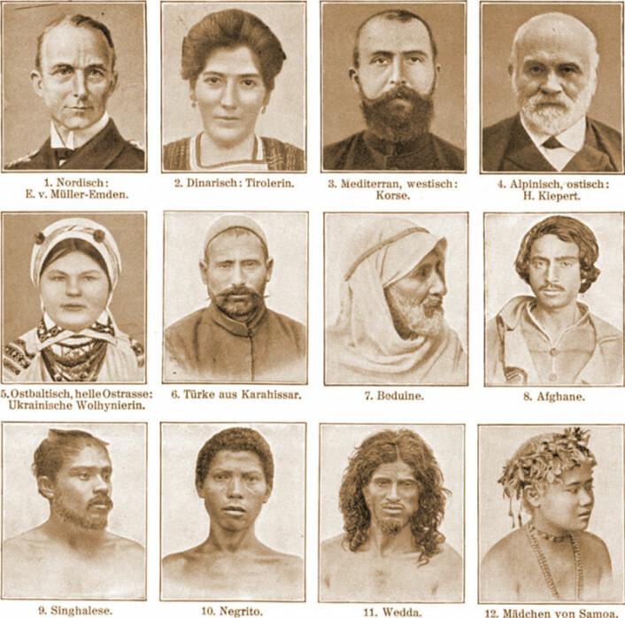 Etniske grupper, slik de var framstilt i det tyske Meyers Blitz-Lexicon i 1932. (Foto: (Bilde: Wikimedia Commons))