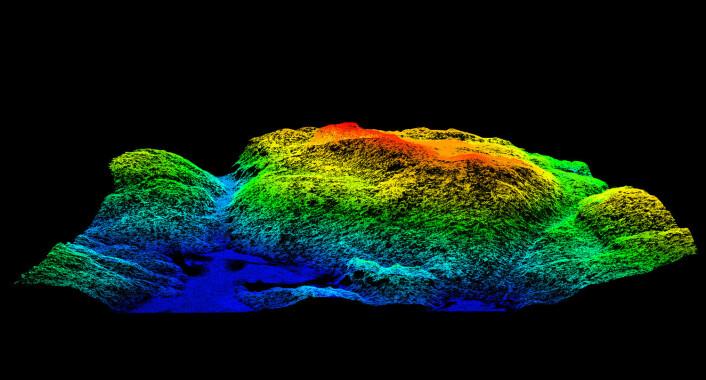 Slik ser bildene fra laserskanningen ut – her en terrengmodell som viser Tonekollen i Østmarka. Fra dataene som ligger bak, er det mulig å finne ut både hvor mye skogen er verdt, hva som vokser i den og hvilke fuglearter som holder til hvor. (Foto: (Illustrasjon: Hans Ole Ørka, UMB))