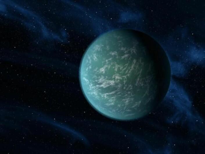Kepler 22b befinner seg i den såkalte 'beboelige sonen' – der temperaturen er ideell for at liv kan kunne oppstå og opprettholdes. (Foto: (Illustrasjon: NASA))