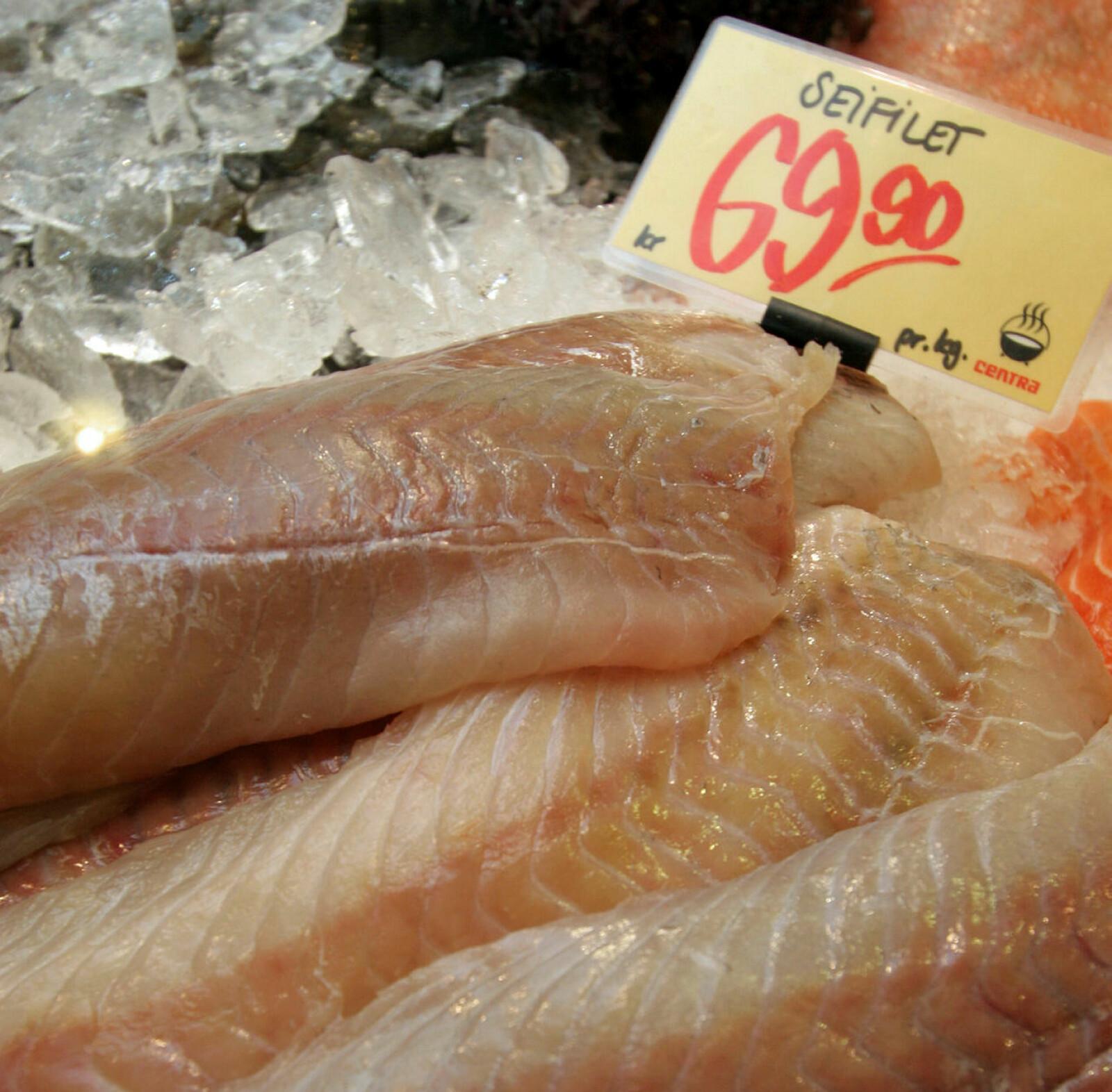 Seifilet i ferskdisken på butikk, slik mange er pleier å se fisken.